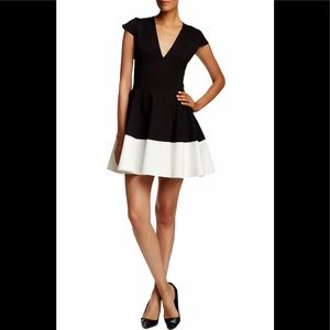 Halston  Heritage color block fit and flare dress